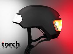 Torch is a new brand that focuses on lit apparel for the urban rider and skater. The T1 helmet is unique as it draws attention to the rider at night.  The helmet features front and rear lenses which LED lights project onto.