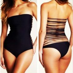 I doubt I could or would ever wear this but man is it cute! Sexy Black One Piece Monokini Straps... $29.49 Vintage Bikini, Sexy Bikini, Vs Bikini, Bikini 2017, Women Bikini, Halter Bikini, Bikini Swimsuit, Bikini Beach, Bathing Suits Hot
