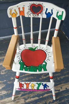 Keith Haring Inspired Hand Painted High Chair by WitchWayDesigns