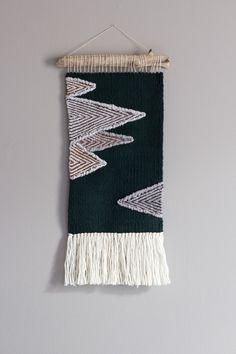 Woven wall hanging // Modern Tapestry // Dark green tapestry with mountains in shades of gray and brown by GartenCraft on Etsy https://www.etsy.com/listing/512717049/woven-wall-hanging-modern-tapestry-dark