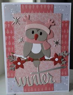 Christmas Cards To Make, Xmas Cards, Christmas Crafts, Homemade Baby Gifts, Cut Paper Illustration, Marianne Design Cards, Owl Card, Embossed Cards, Bird Cards