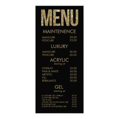 Shop Black & Gold Glitter Typography Salon Menu Cards created by Pip_Gerard. Personalize it with photos & text or purchase as is! Nail Salon Design, Nail Salon Decor, Salon Interior Design, Black Gold Nails, Gold Glitter, Nails Bar, Salon Price List, Hair Salon Interior, Nail Room