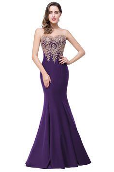 Cheap Purple Long Evening Dresses 2016 Mermaid Evening Gowns Robe de Soiree Longue