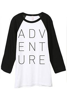 9bd77a313d09a8 Adventure Unisex 3 4 Sleeves Baseball Raglan T-Shirt Tee White Black Vector  Portrait