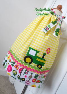 John Deere Inspired Tractor Farm Girl Pillowcase Dress ...perfect for a birthday party