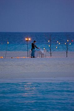 Romantic beach dinner.