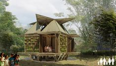 low cost housing in VIETNAM. bamboo, wall garden, floats in floods Bamboo Architecture, Sustainable Architecture, Innovative Architecture, Vernacular Architecture, Beautiful Architecture, Sustainable Design, Tiny Build, Vietnam, Bamboo House Design
