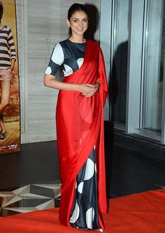 Masaba Gupta, designer of this modern sari worn here by Aditi Rao Hydri Satin Saree, Silk Sarees, Red Saree, Georgette Sarees, Cotton Saree, Indian Designer Outfits, Indian Outfits, Indian Clothes, Satya Paul Sarees