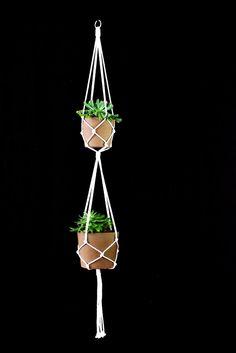 Double White macrame plant hanger