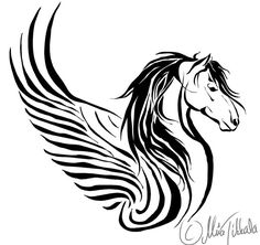 Horse tattoo II by ~Demondes This or a unicorn- for my dad