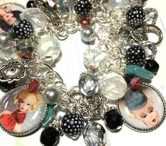 Vintage Barbie,  Charm bracelet, altered art, Jewelry, glass flower beads, handmade, One of a kind, by Bostoncharm on Etsy