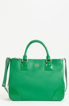TORY BURCH Green Double Zip Leather Tote