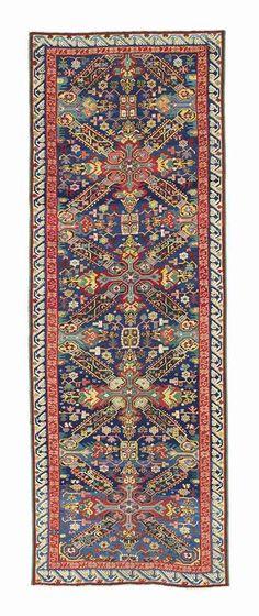 SEYCHOUR RUNNER  EAST CAUCASUS, LATE 19TH CENTURY    9ft.8in. x 3ft.4in. (293cm. x 102cm.) Carpet Flooring, Rugs On Carpet, Persian Pattern, Magic Carpet, Border Design, Cool Rugs, Persian Rug, Vintage Rugs, 19th Century
