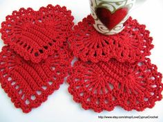 Red Heart Coaster Tutorial Crochet Pattern. Lyubava Crochet's Pattern Store on Craftsy | Support Inspiration. Buy Indie.