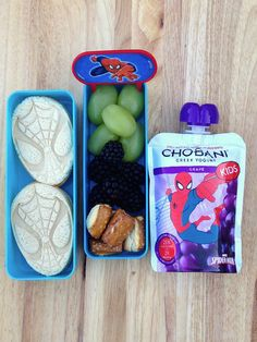A super-hero lunch for my own super-hero! Spiderman is always a favorite and he loves the new Chobani Kids pouches, especially grape! {Sponsored by Chobani}