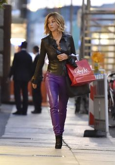Black leather shirt and purple leather pants street style fashion