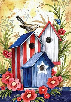 Easy Canvas Painting, Painted Canvas, Patriotic Images, Garden Flag Stand, Spangled Banner, Birdhouse Designs, Painting Templates, Bird Houses Painted, Animal Tracks