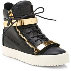 Giuseppe Zanotti Birel Metal and Leather High-Top Sneakers ($478) ❤ liked on Polyvore featuring shoes, sneakers, leather trainers, giuseppe zanotti, leather hi top sneakers, giuseppe zanotti sneakers and genuine leather shoes
