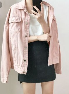 Harajuku Women Denim Jacket Coat Solid Color Square Collar Vintage Winter Outerwear Long Sleeve Casual Army Green Loose Jacket sold by wwlrf. Shop more products from wwlrf on Storenvy, the home of independent small businesses all over the world. Pink Denim Jacket, Pink Jeans, Jackets For Women, Clothes For Women, Vintage Jacket, Kawaii Fashion, Outerwear Jackets, Denim Jackets, Korean Fashion