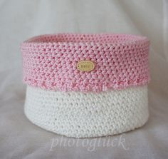 "Utensilo Häkelkörbchen handmade ""Baby"" rosa von PHOTOGLÜCK auf DaWanda.com"