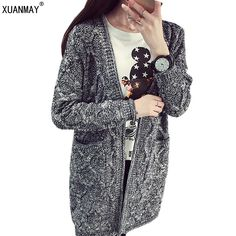 d748dad1431c42 sweater women new autumn and winter women thick cardigan sweater and long  sections loose cardigan sweater coat coarse lines-in Cardigans from Women s  ...