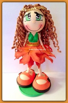 Autumn is a fofucha doll. Stands at 12 inches. Handmade using foam sheets..  can  be used as a centerpiece at your child's  party. Or even as a caketopper. I can make other Colors or personalized. Like us on facebook.com/fofuchashandmadedolls  #fofuchas #Autumn