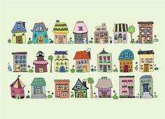 little houses. $14.00, via Etsy.