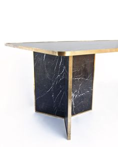 Liaison Dining Table in Negro Marquina Marble and Bronze | From a unique collection of antique and modern dining room tables at https://www.1stdibs.com/furniture/tables/dining-room-tables/