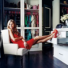 "Nicky Hilton in one of her two ""very organized"" couture-filled walk-in closets, as shown in InStyle Magazine #celebrity #closets #dressing_room"