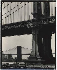 Brett Weston, Brooklyn Bridge and Manhattan Bridge, New York, ca. 1945  On this day in 1883, John Robeling's beautiful Brooklyn Bridge offic...