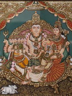 Shiva Parvati Images, Krishna Hindu, Hanuman Chalisa, Shiva Shakti, Durga, Mysore Painting, Tanjore Painting, Indian Artwork, Indian Paintings