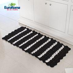 Receita EuroRoma • Tapete de Crochê com Fio de Malha Preto e Branco