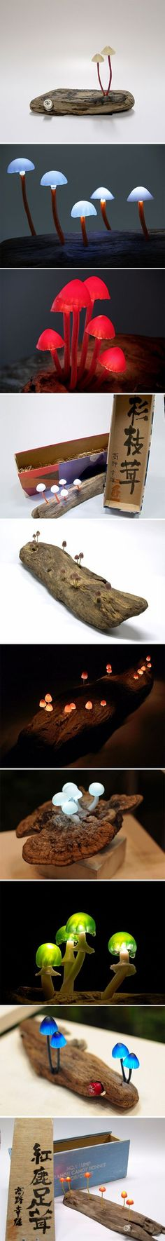 LED mushroom lights by Yukio Takano: