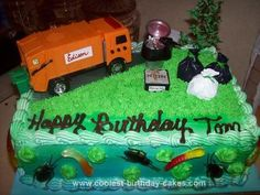 Homemade Garbage Truck Birthday Cake: I made this Garbage Truck Birthday Cake for a friend of mine who is a garbage man. I searched EVERYWHERE for an orange toy garbage truck because the town