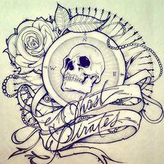 beautiful tattoo sketch#skull#rose