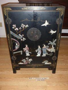 Lot #85 - Vintage Asian Cabinet Carved Soapstone Accents -Redding Estate Sales - NorCal Online Estate Liquidation Auctions
