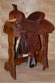 "Martin Saddlery ""Cervi Crown C"" Barrel Saddle (Tooled) - Want all these options on an all around model.. (tooling, color, roughout, adj. rig, PLUS pre-twisted stirrups and strings)-SR"