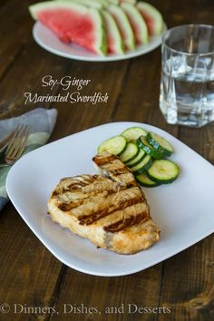 Soy-Ginger Marinated Grilled Swordfish: Quick marinade that gives so much flavor for josh and for me. Used tuna steak) Grilled Swordfish, Swordfish Recipes, Seafood Dinner, Fish And Seafood, Healthy Eating Recipes, Cooking Recipes, Fish Dishes, Main Dishes, Easy Dinner Recipes