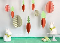 3D Paper eggs and carrots - so cute for over the Easter table!