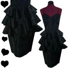 Dress vintage 80s black taffeta tiered prom party dance dress s