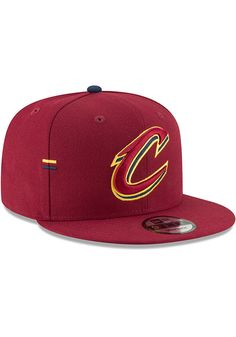 c1bb6be560ea24 New Era Cleveland Cavaliers Maroon Hasher Snap 9FIFTY Mens Snapback Hat,  Maroon, 100% POLYESTER, Size OSFM