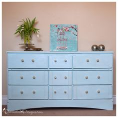 The Classic Beauty of Blue and Silver #DIY #furntiurepaint #paintedfurniture #silver #metallic #icicle #dresser #bedroom #homedecor - blog.countrychicpaint.com