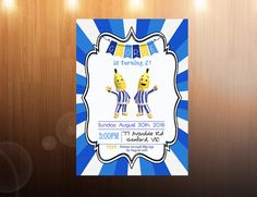 Bananas in Pyjamas Birthday Invitations by cherrycolashop on Etsy