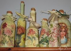 Decoupage Bottles...By: Aya Deco