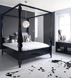 The impact of bedroom furniture will make you have a good night's sleep. Let's face it, and a modern bedroom furniture design can easily make it happen. Four Poster Bedroom, Four Poster Bed Frame, Bedroom Posters, Poster Beds, Contemporary Bedroom Furniture, Bedroom Furniture Design, Bedroom Modern, Black Canopy Beds, Design Exterior
