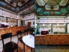 wood end grain square wall tile, dimensional wood tile on bar face, ornamental tile, reverse painted glass panels, old villeroy & boch green patterned tile