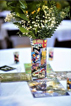 Vintage Comic Book wedding Zach has always been a lover of comic books, and as long as we have been together (seven years!) we've always known that we wanted to have a comic book themed-wedding. Comic Book Wedding, Wedding Guest Book, Vintage Comic Books, Vintage Comics, Avengers Wedding, Marvel Wedding Theme, Superhero Centerpiece, Comic Book Parties, Book Centerpieces