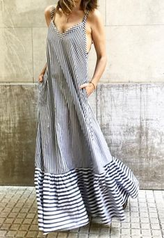 Ultimate halter neck black and white striped spaghetti strap summer maxi dress Boho Outfits, Casual Outfits, Summer Outfits, Fashion Outfits, Summer Dresses, Summer Maxi, Winter Outfits, Womens Fashion, White Maxi