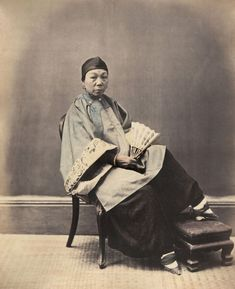 William Saunders, A Shanghai Woman, 1806s-1870s. Hand-tinted albumen silver print. No. 8 in Sketches of Chinese Life and Character series