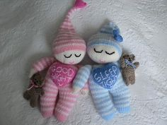 """LOVEHEART SLEEPYTIME PAL on Craftsuprint designed by Lorna Musk - Soft sleepytime doll, approx 12"""" long, complete with teddy and any """"loveheart"""" message you choose. Easy to knit  - Now available for download!"""
